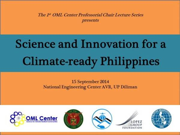 Professorial Chair Lecture Series: Science and Innovation for a Climate-Ready Philippines