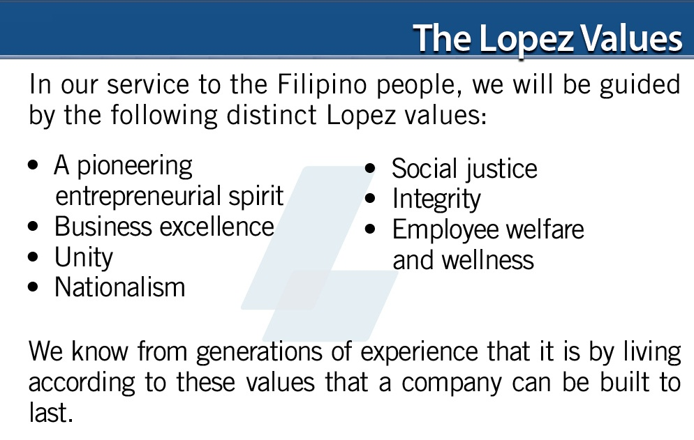The Lopez Credo  Values